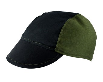 Black/olive cotton cycling cap - handmade cap; bike cap; bicycle cap; cotton cap; cycling clothes; bike wear