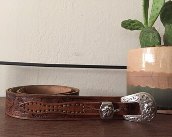Vintage Flower Engraved Leather Belt