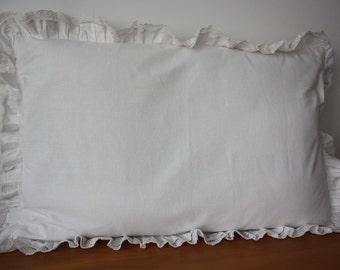 Two White Frill Pillowcases