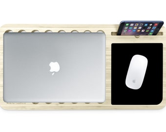 Slate 2.0 + Mousepad | Mobile LapDesk - Essential Bamboo Wood Laptop Macbook Lap Desk - Gift for Him / Her - Fast Shipping
