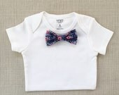 Rosa in Navy - Rifle Paper Co. Bow Tie BodySuit w/ Snap-On Bowtie. Fall Baby Shower/Thanksgiving Baby Outfit.  1 Bodysuit +1 Bowtie ONLY!