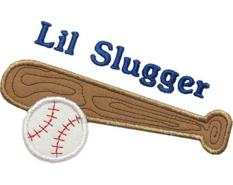 Lil Slugger Ball Ball Applique Machine Embroidery Digital Design Baseball Little