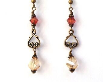 Women's Boho Earrings, Crystal Earrings, Long Beaded Earrings, Statement Jewelry, Handmade Jewelry, Bohemian Jewelry, Gift for Her Under 20