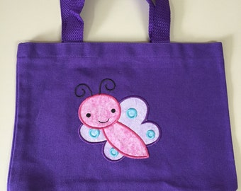 Small Canvas Tote with Butterfly applique