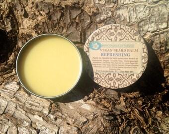 Vegan Beard Balm - Refreshing Blend - 2oz , Men's grooming, Organic