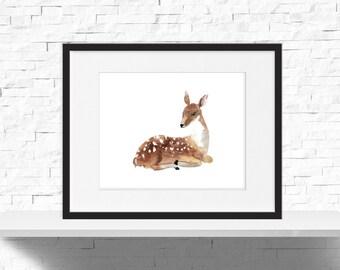 Deer Nursery Decor - Deer Decor - Kids Room Decor - Watercolor Deer - Nursery Art - Printable Kids Gift - Deer Wall Art - PRINTABLE 10x8