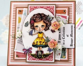Yellow Dress Girl with Butterflies card