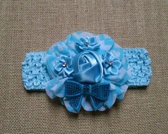 Baby Headband, Blue Headband, Flower Headband, Baby Hair Accessory, Baby Girl Headband, Toddler Headband, Infant Headband, Newborn Headband