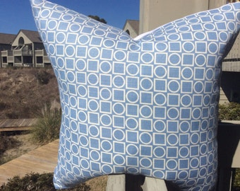 Victoria Hagan Pillow Cover in Sky Blue Platinum Ring Pattern