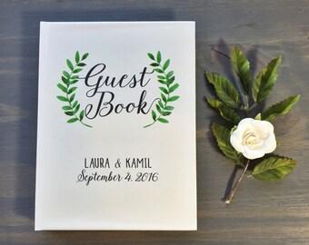 Wedding Guest Book, Laurel Wreath Wedding, Personalized Guestbook, Custom Journal, Calligraphy Handwriting, Garden Rustic, Wedding Gift Idea