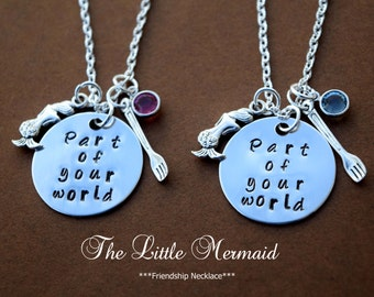 Little mermaid inspired Friendship Necklace-Part of your world-Set of 2-little mermaid jewelry-BFF-Ariel inspired necklace-Swarovski Cr