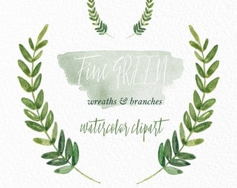 Green wreaths and branches. Watercolor clip art hand drawn. Light green branches, wedding invitation, olives, rosemary, Laurel Wreath