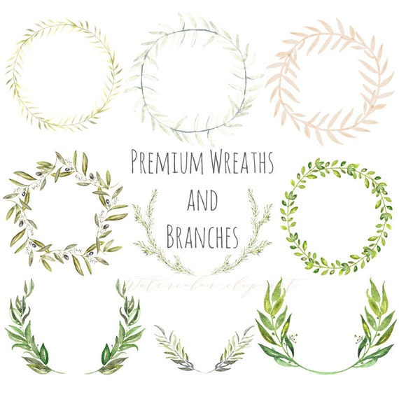 Premium Wreaths And Branches Watercolor Clip Art Hand