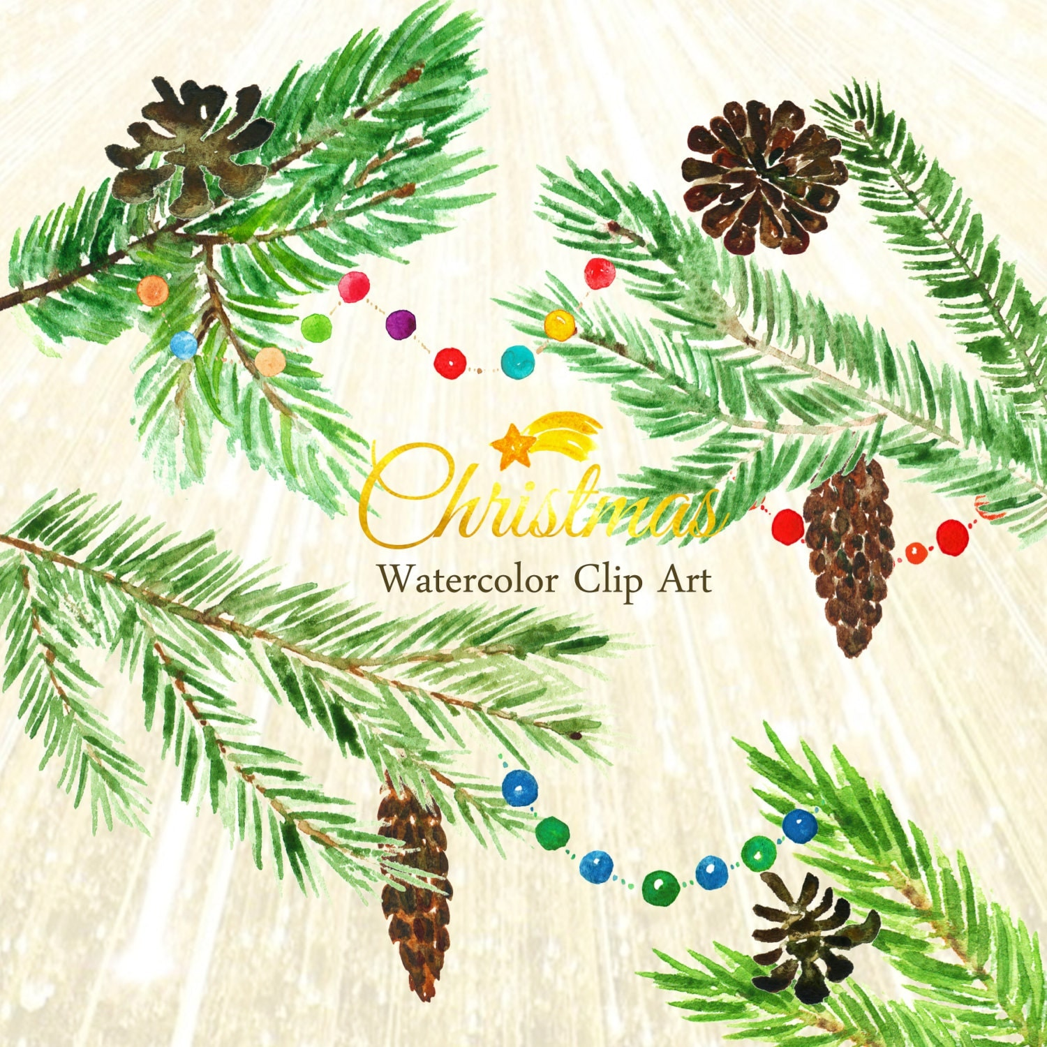 Watercolour Christmas Tree: Christmas Tree Watercolor Clip Art Hand Drawn. Winter