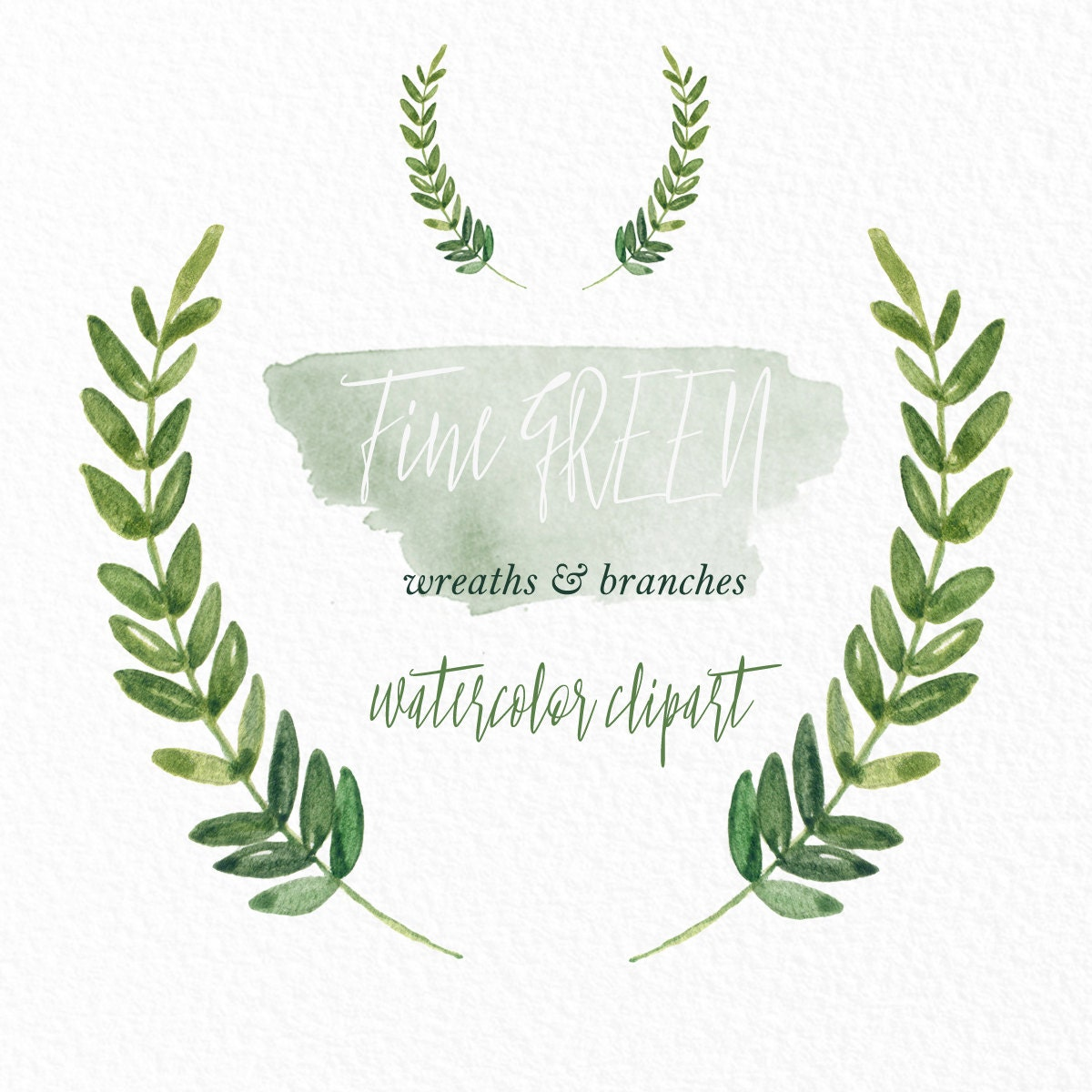Green Wreaths And Branches Watercolor Clip Art Hand Drawn