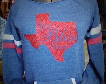 """Navy Scoop Neck """"God Bless Texas"""" Long Sleeve"""