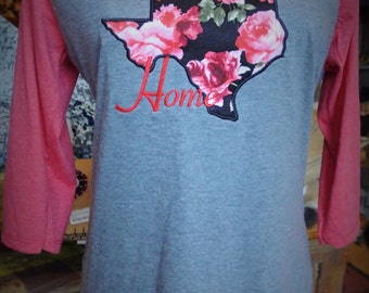 "Texas Floral ""Home"" Half Sleeve Shirt"