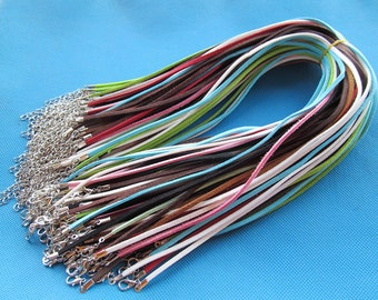 3X420mm Mixed Colors Korea Faux Suede Leather Necklace Cord String Rope,1.8inch Extender Chain,12x7mm Lobster Clasp,DIY Accessory