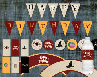 Harry Potter Birthday Decorations  |  Banner, Cupcake Toppers & Wrappers, Candy Bar Wrappers, Water Bottle Labels |  Printable PDF