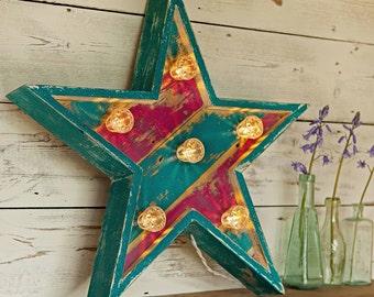 Light up Circus Star fairground lights/circus lights/marquee lights/vintage star/retro star/carnival lights/light up star/graphic lighting
