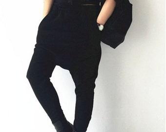 Fashion black street harem pants