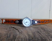 Adjustable Leather Wrist Watch band | Ladies Tooled Leather Watch Band | Handmade in Australia