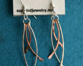 Sterling Silver and Copper hammered dangle earrings
