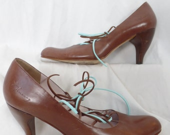 Upcycled John Fluevog cinnamon lace up front- Ghillie style pumps/curved heel/turquoise laces: size US 9 woman