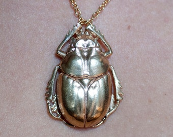 Beetle Necklace - Insect Jewelry | Scarab Beetle  Pendant | 3D Printed Insect Beetle Pendant