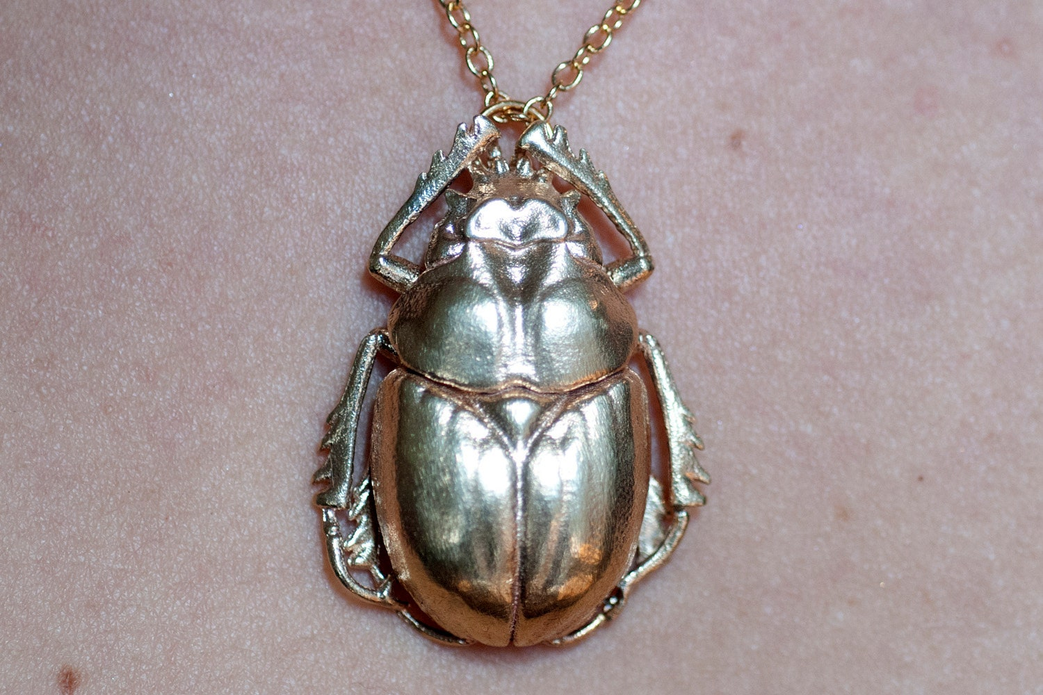Beetle Necklace Insect Jewelry Scarab Beetle Pendant 3D
