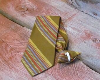 Vintage 1960's Beau Brummel Snapper Gold, Baby Blue and Orange Striped Men's Clip-On Smooth Polyester Tie