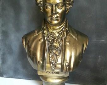 Mozart bust,Composition matter bust,Mid century bust,Musician bust,gold bust, Musician statue,figure