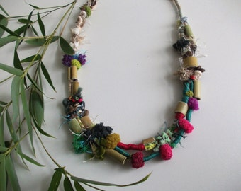 Bamboo Necklace...Tribal rustic ethnic pom pom statement crochet and wrapped two strand natural colors bib necklace with bamboo beads,OOAK