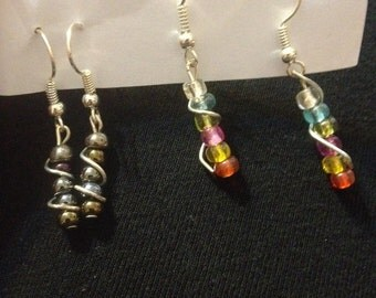Wire Wrapped Beaded Earrings