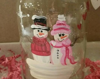 LOVE - Snowmen Glass Jar Candle Handpainted Personalized Hearts