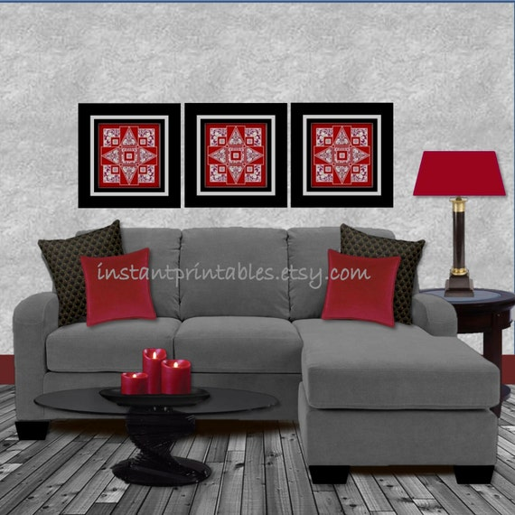 Items Similar To Red Living Room Wall Decor Art Print