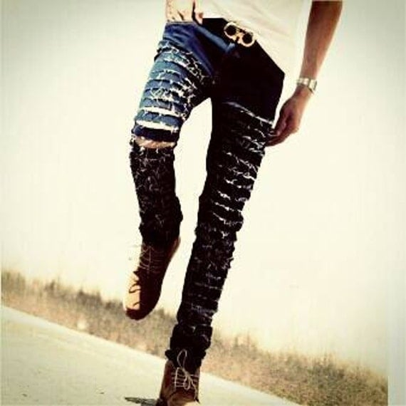 14 Men's WHOLE SALE  Distress ripped jeans full leg
