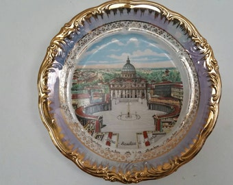 Vintage  Souvenir Plate Roma Basilica Di San Pietro
