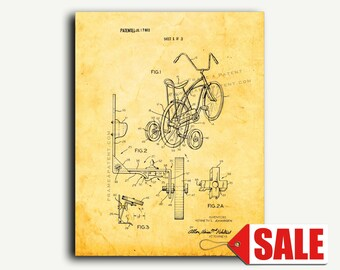 Patent Art - Retractable Bicycle Training Wheels Patent Wall Art Print