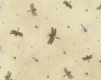 Curiosity Dragonflies (Olive) by Quilting Treasures Cotton Fabric