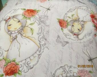 La Vie En Rose Cameos on grey by Santoro fabrics, cotton fabrics