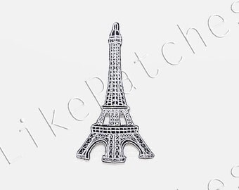 White Eiffel Tower France Paris New Sew / Iron On Patch Embroidered Applique Size 5.8cm.x10.2cm.