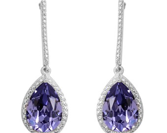 SWAROVSKI Purple Crystal Earrings in Platinum Bonded Brass TGW 8.00 cts.