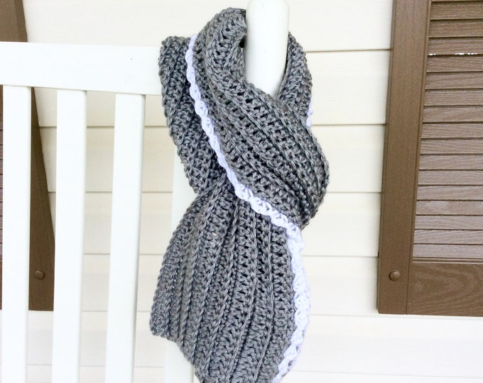 Heather Grey Scarf with White Scalloped Edge, Warm Winter Crochet Scarf, Gray Scarf for Teens or Women, Crochet Scarf in Grey with white