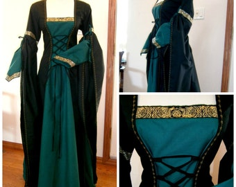 Medieval Dress, Renaissance Gown, LARP, Fantasy Dress, Handfasting size M