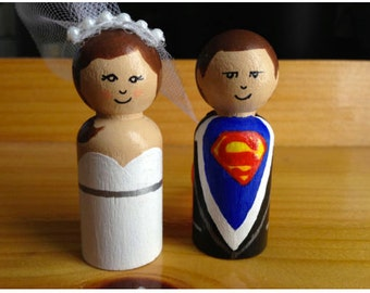 Superman wooden peg wedding cake toppers