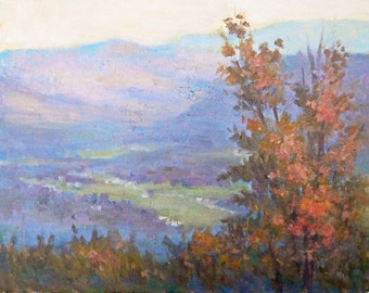 Sunset in the Blue Ridge mountains in November, 11x14,inches