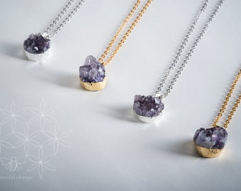 Amethyst Druzy Necklace/ Amethyst Drusy Necklace/ February Birthstone/ Amethyst Necklace/ Silver Amethyst Necklace/ Gold Amethyst Necklace