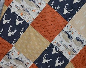 Woodland Quilt, Modern Quilt, Baby Boy Crib Bedding, Navy Moose Boy Nursery Quilt, Tribal Quilt, Baby boy blanket, Nursery Decor, Rustic