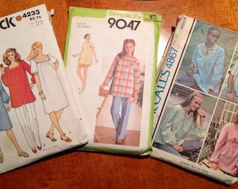 Set of 3 1970's Maternity Patterns, McCall's # 4867, Simplicity # 9047, Butterick # 4233